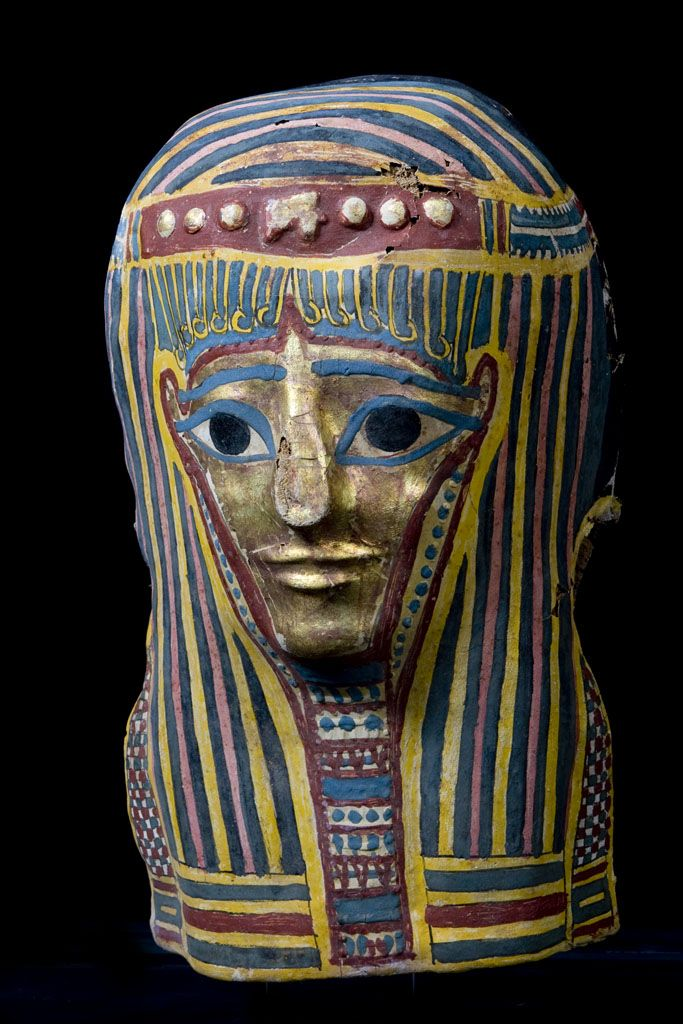 Original Late Period Egyptian Cartonnage Mask  http://www.muzeion.com/guilded-mask-with-polychrome-paint.html  Origin: Egypt  Circa: 711-332 BC  Medium: Gold, Linen and Stucco  Collection ID: EG-096