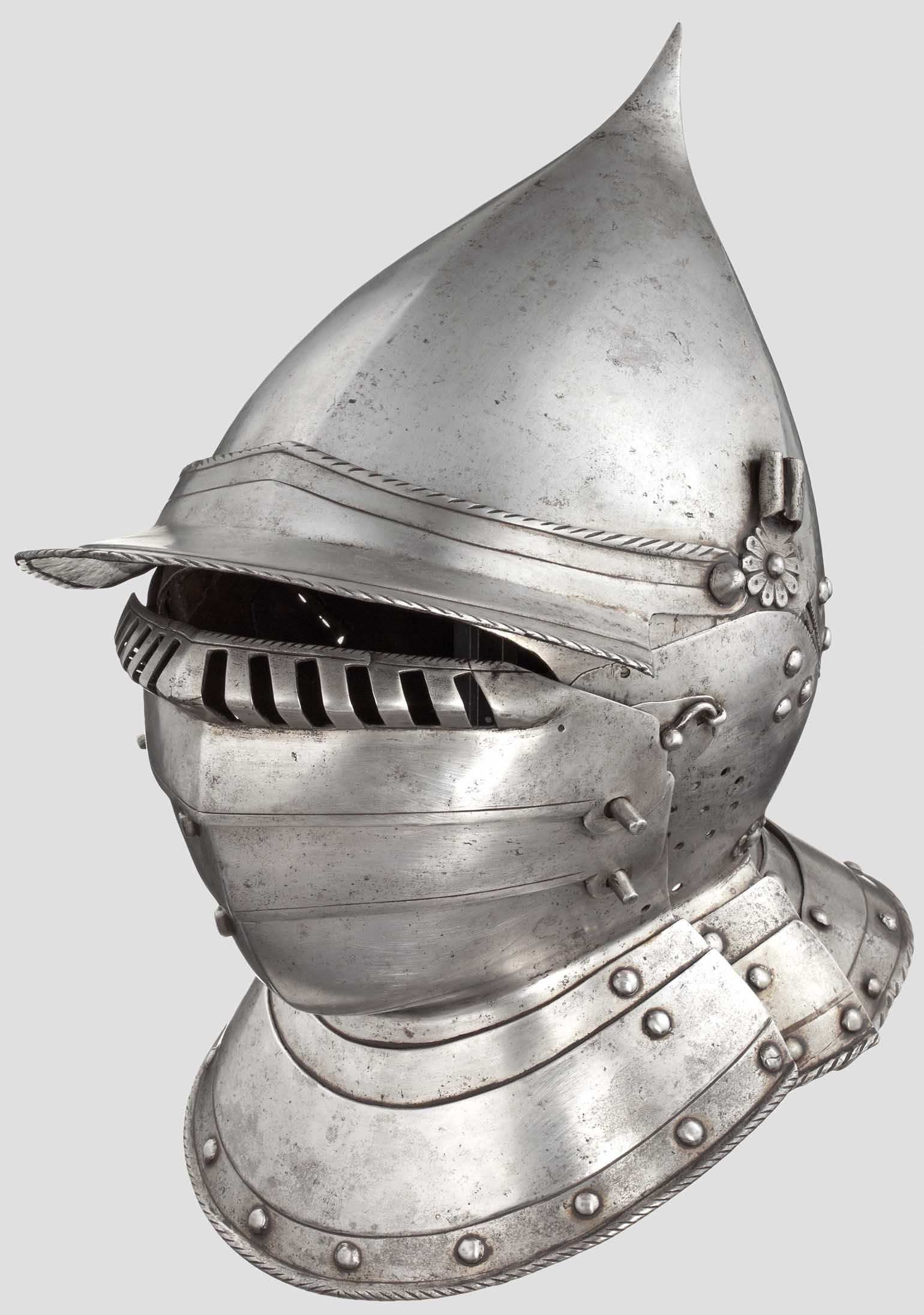 A South German burgonet with pivoted bevor, probably from Augsburg, circa 1550/60 http://www.hermann-historica.de/auktion/images67_max/80772_c.jpg