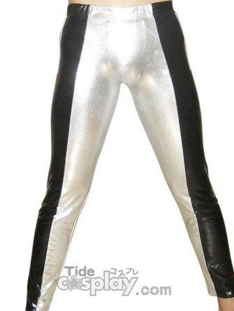 Silver And Black Shiny Metallic Pants