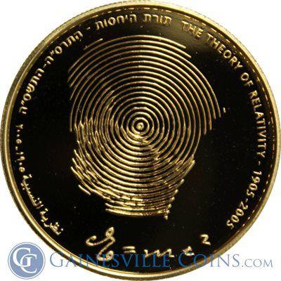 2005 Israel 10 New Sheqalim Gold | Einsteins Theory of Relativity http://www.gainesvillecoins.com/