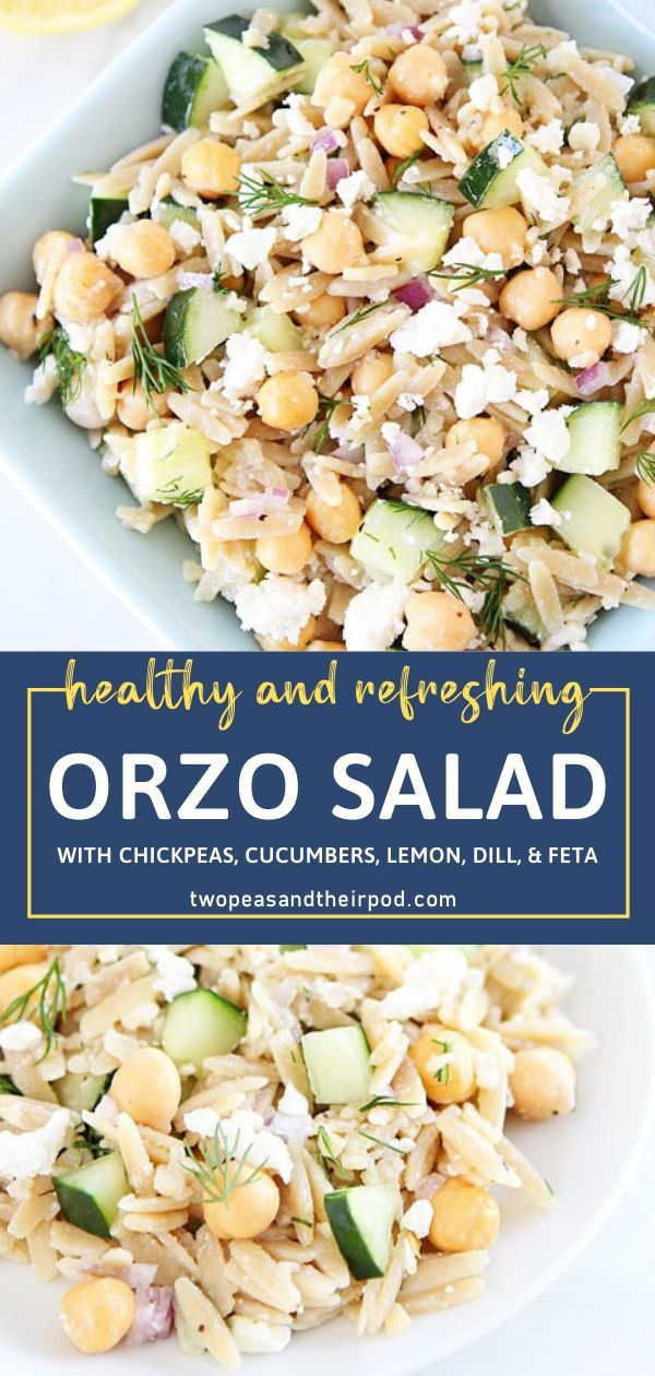 Photo of Orzo Salad with Chickpeas, Cucumbers, Lemon, Dill, & Feta