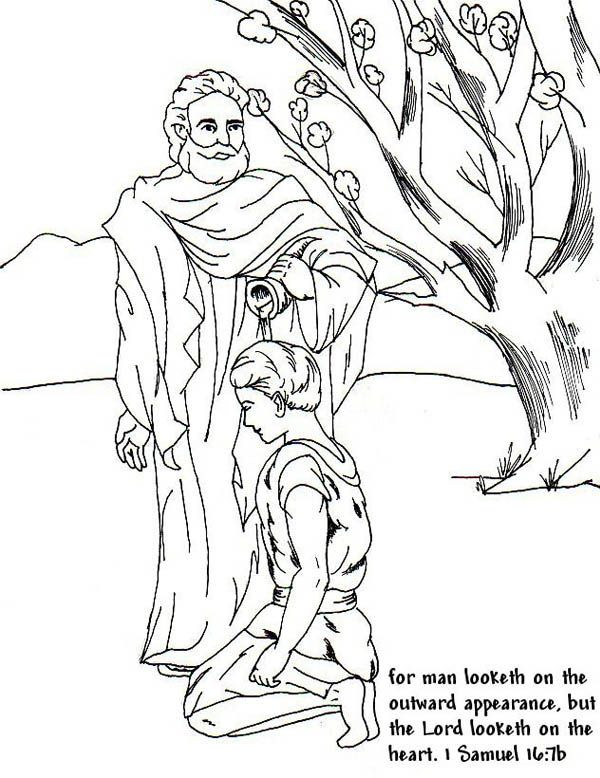 Samuel Anointed David As A King In The Story Of Saul Coloring Page