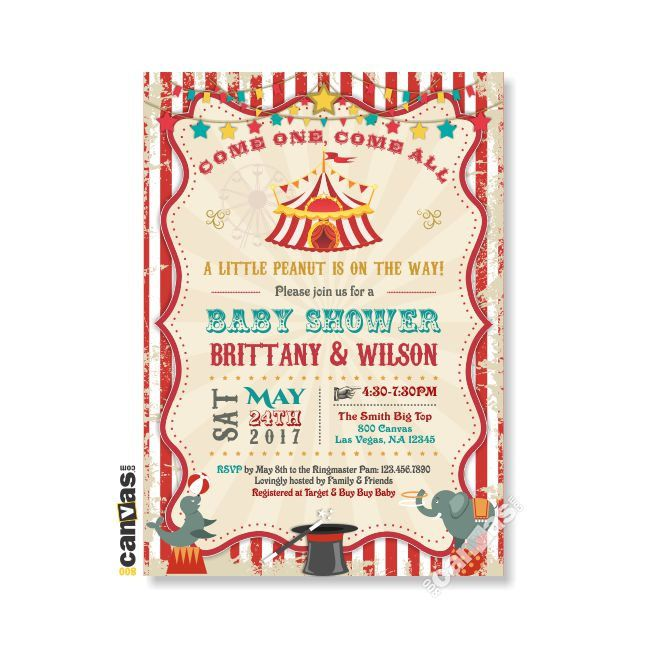 Circus Baby Shower Invitation Carnival Party Invite Gender - circus party invitation
