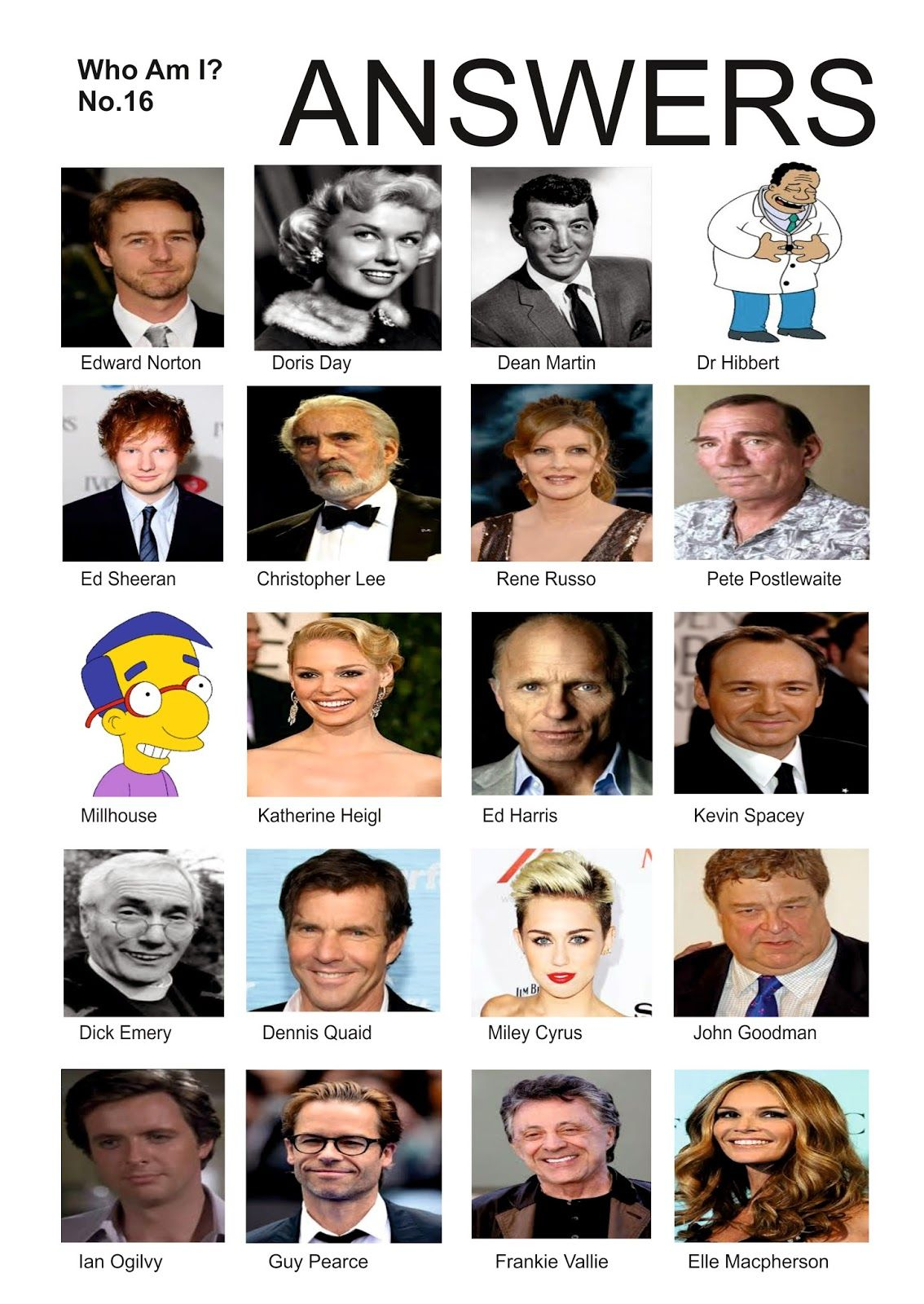 Here S The Answers To Yesterdays Celebrity Quiz How Did