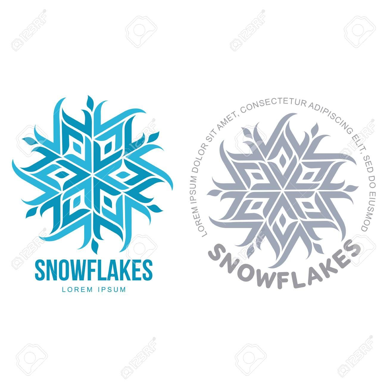 Snowflake vector logo templates isolated on white