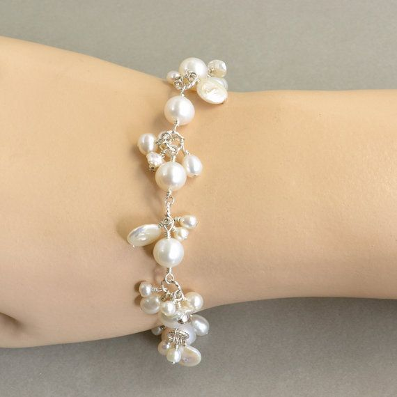 White Pearl and Sterling Bracelet by NansGlam on etsy