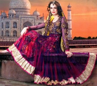 Mulberry-Purple and Fuchsia Anarkali Suit with Metallic Thread Embroidered Flowers on Neck and Wide Patch border