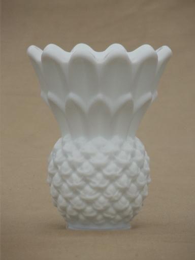 Vintage Milk Glass Pineapple Vase Or Match Holder Imperial