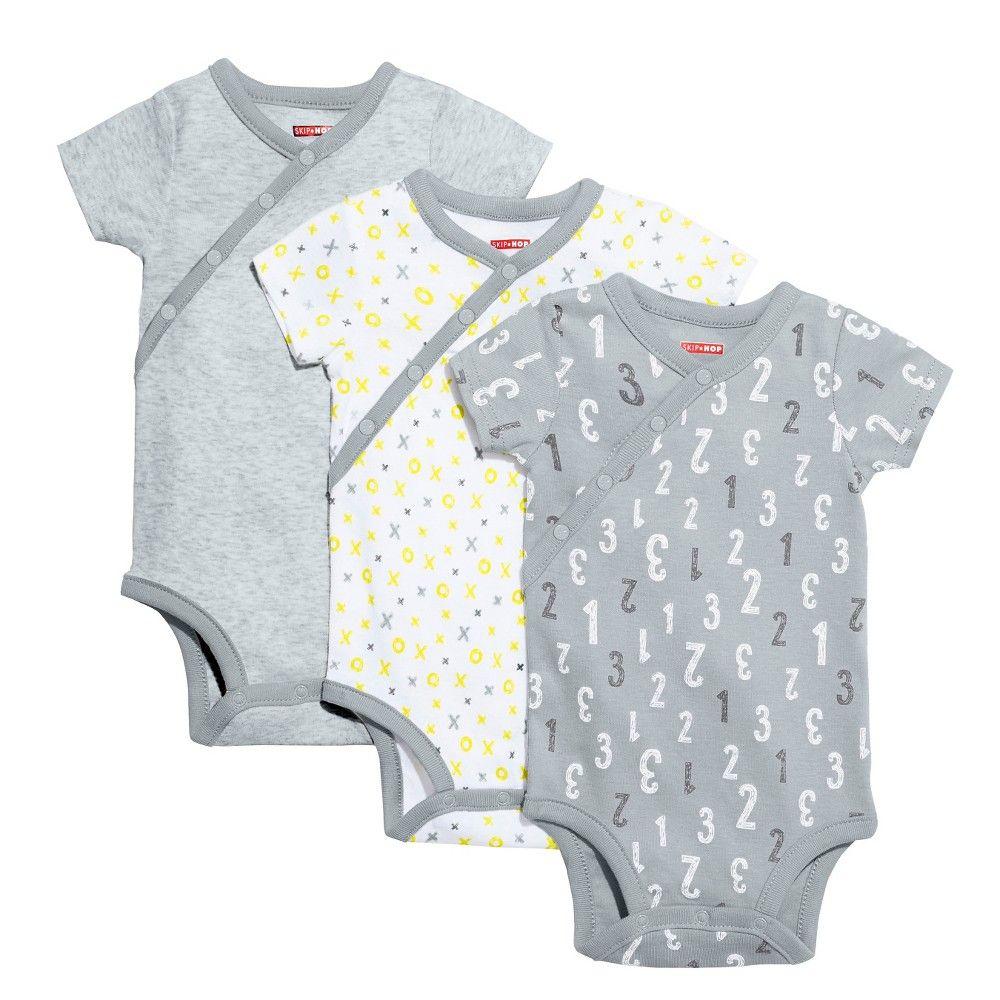 96162936a336 Skip Hop Baby Short Sleeve Side Snap Bodysuit Set - Grey