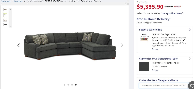 Hybrid K Cushion Configuration Chaise Sofa Cushions Sectional