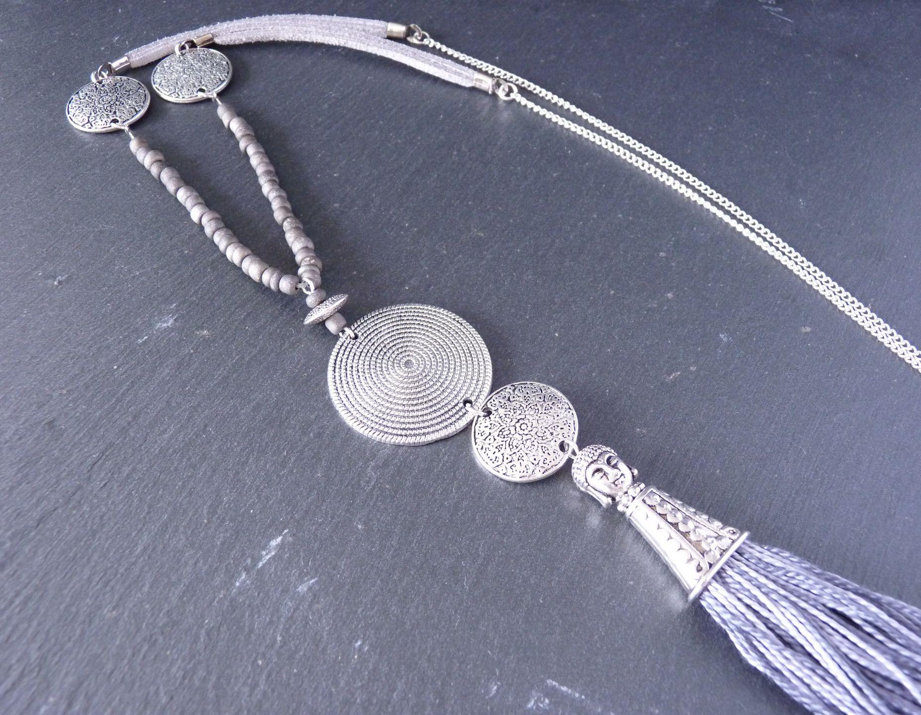 Collier long gris