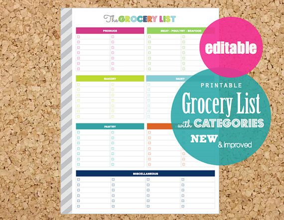 EDITABLE Grocery List, Printable Planner, Letter Size + A5   INSTANT  DOWNLOAD   Shopping, Categories, Planning