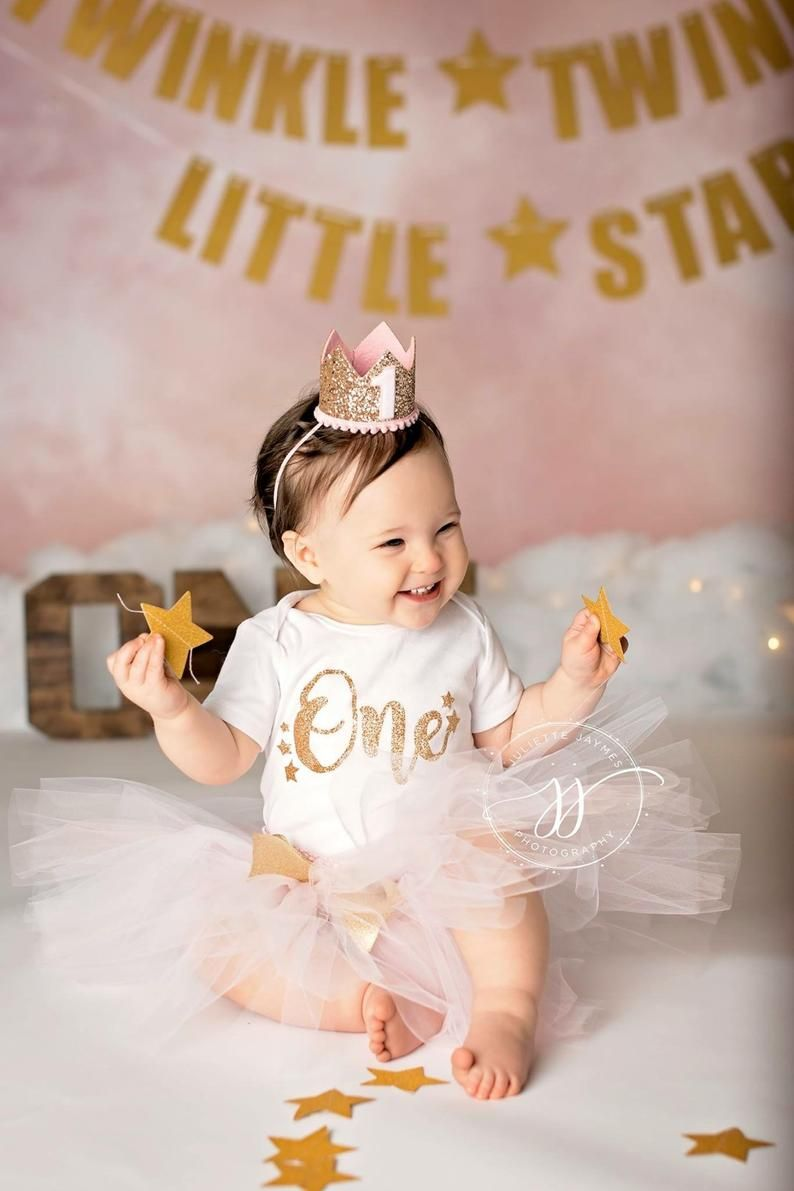 Pink and Gold First Birthday Baby Headband  1st Birthday Outfit  Gold Crown Birthday  1st Birthday Girl  Pink and Gold First Birthday