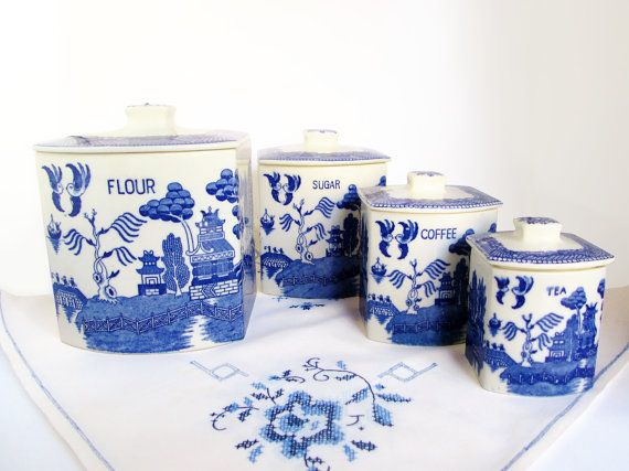 Set Of 4 Blue And White Ceramic Nesting Canisters, Vintage Kitchen Canisters,  Japanese Blue And White Ceramic, Delft Blue Canisters