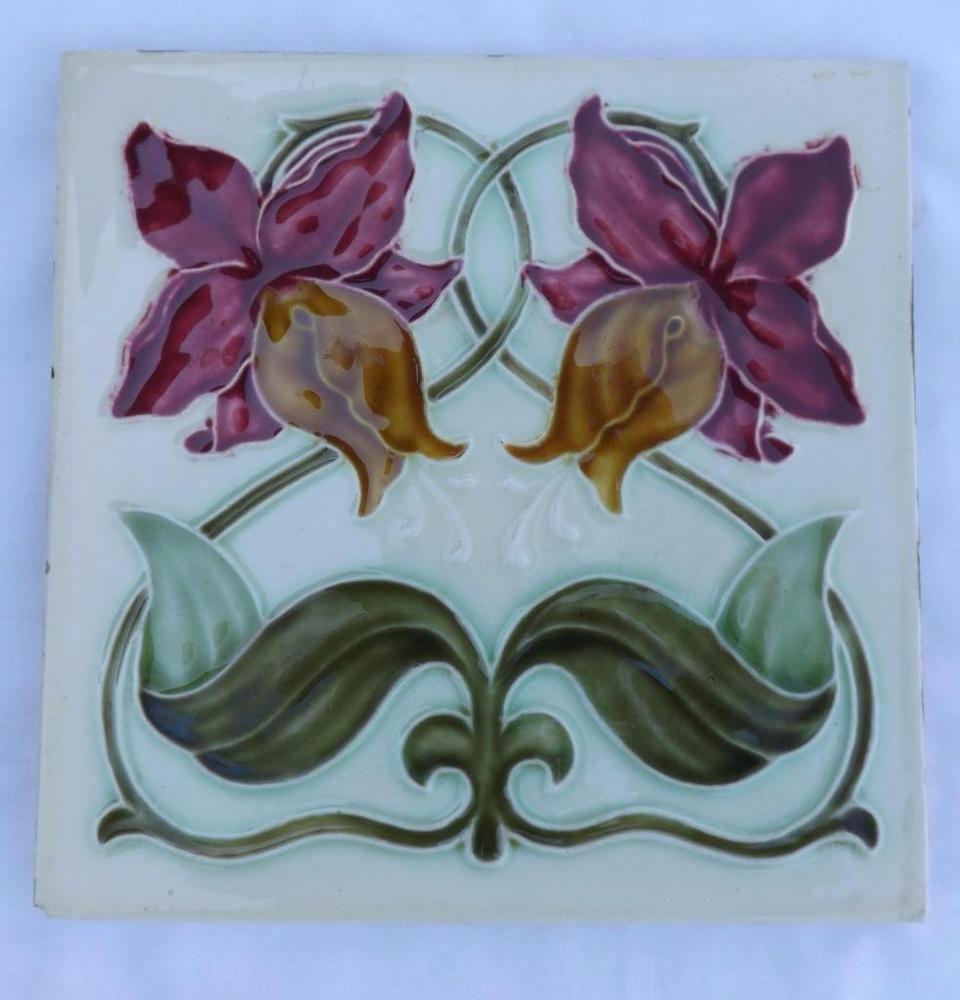 Antique art nouveau tube lined flower ceramic tiles tile antique antique art nouveau tube lined flower ceramic tiles tile dailygadgetfo Images