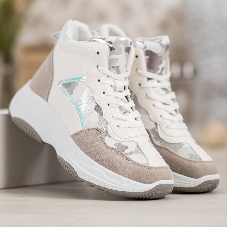 Ideal Shoes Wysokie Buty Na Platformie Biale Brazowe Wielokolorowe Sneakers Nike Nike Huarache Shoes
