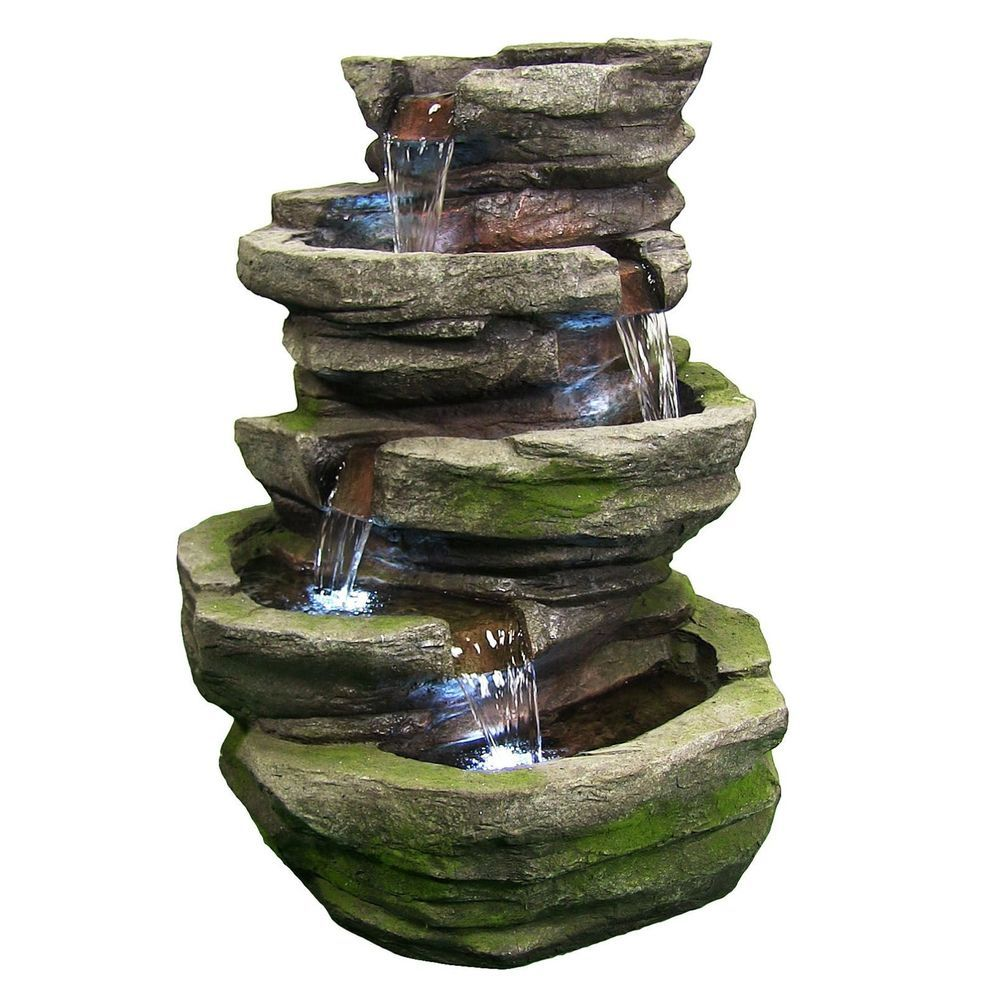 5 Tier Outdoor Stone Rock Led Water Fall Fountain For Garden Yard
