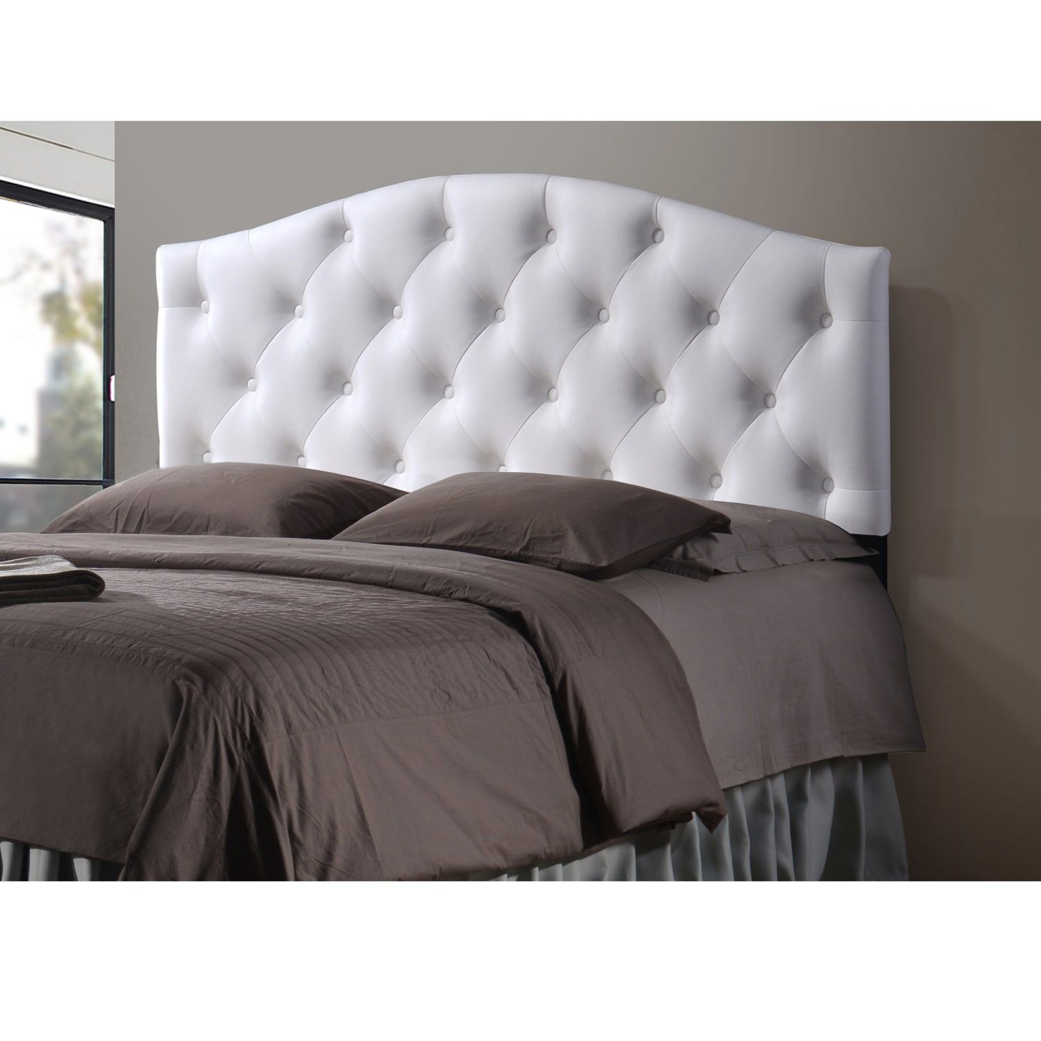 Full Tufted Headboard White Faux Leather Bed Button Full Size Arched
