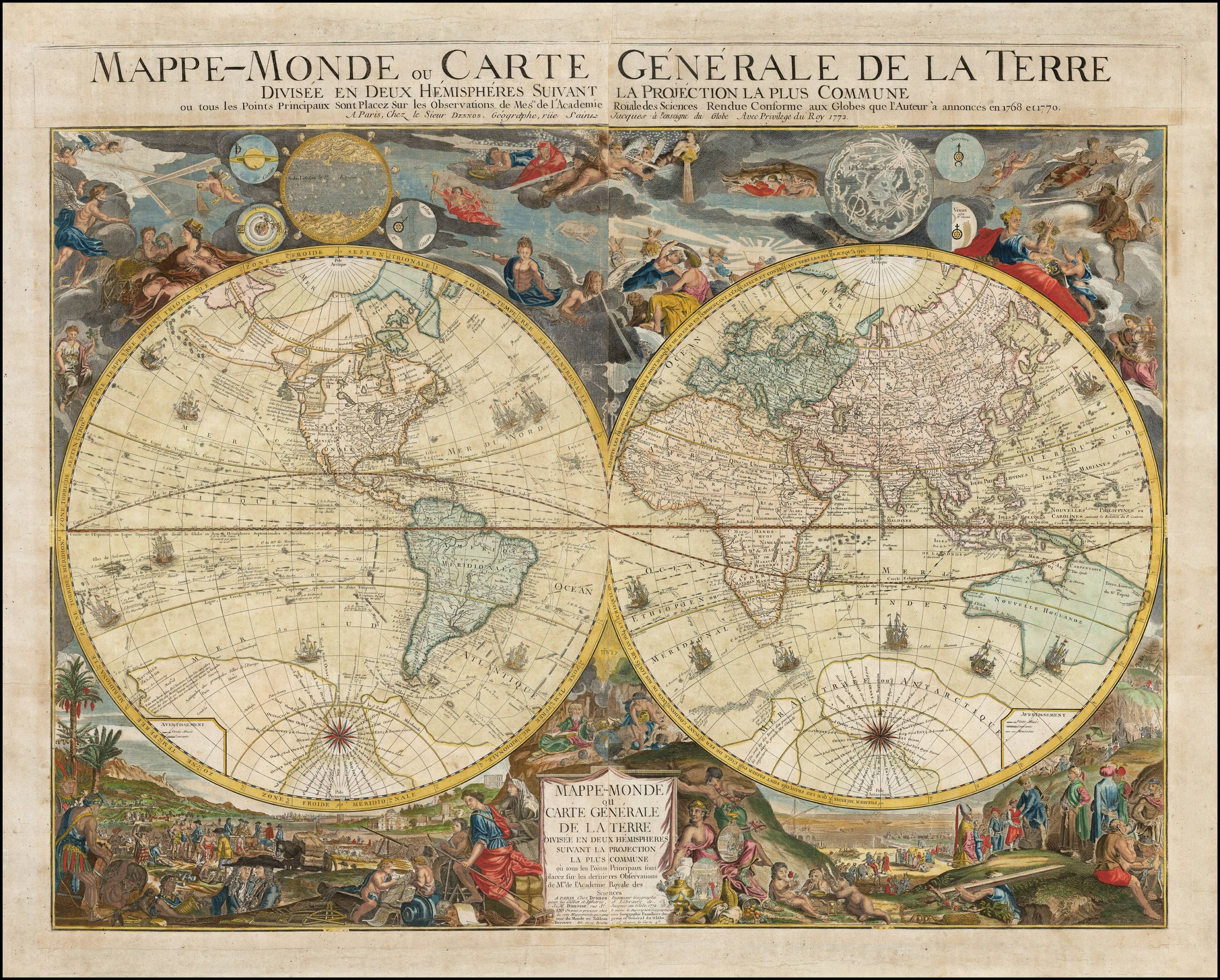 Desnos spectacular double hemisphere world map from 1772 with an desnos spectacular double hemisphere world map from 1772 with an extravagant and fictitious australian gumiabroncs Choice Image