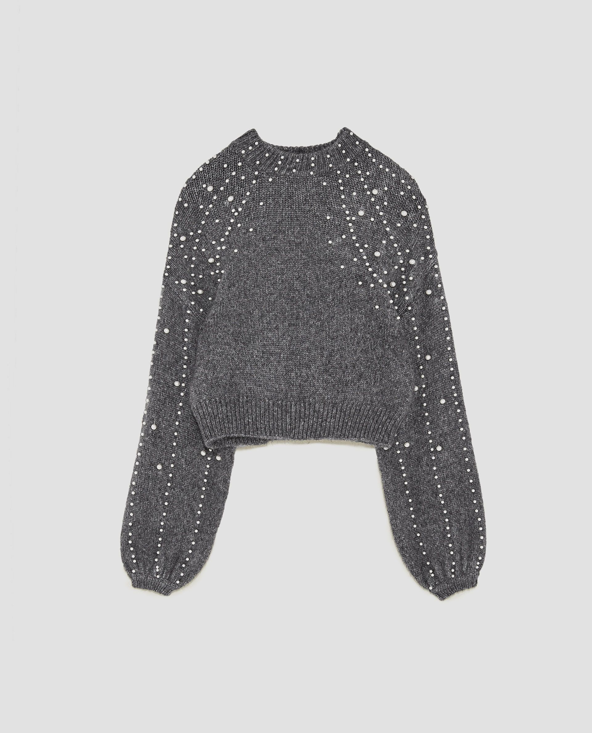 CROPPED SWEATER WITH FAUX PEARLS from Zara | Fashion Finds ...