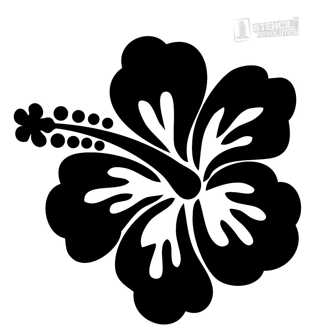 Hibiscus Flower Stencil Flower Stencil Hawaiian Flower Drawing Flower Silhouette