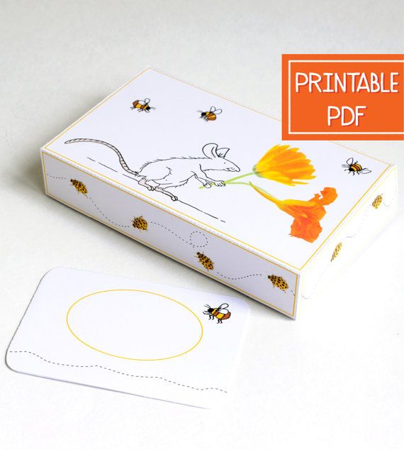 Paper #gift #box with gift card holder & an illustration of a mouse bringing flowers. #Download & print the digital PDF & make as many DIY paper boxes as you like! alsjeblieft.etsy.com