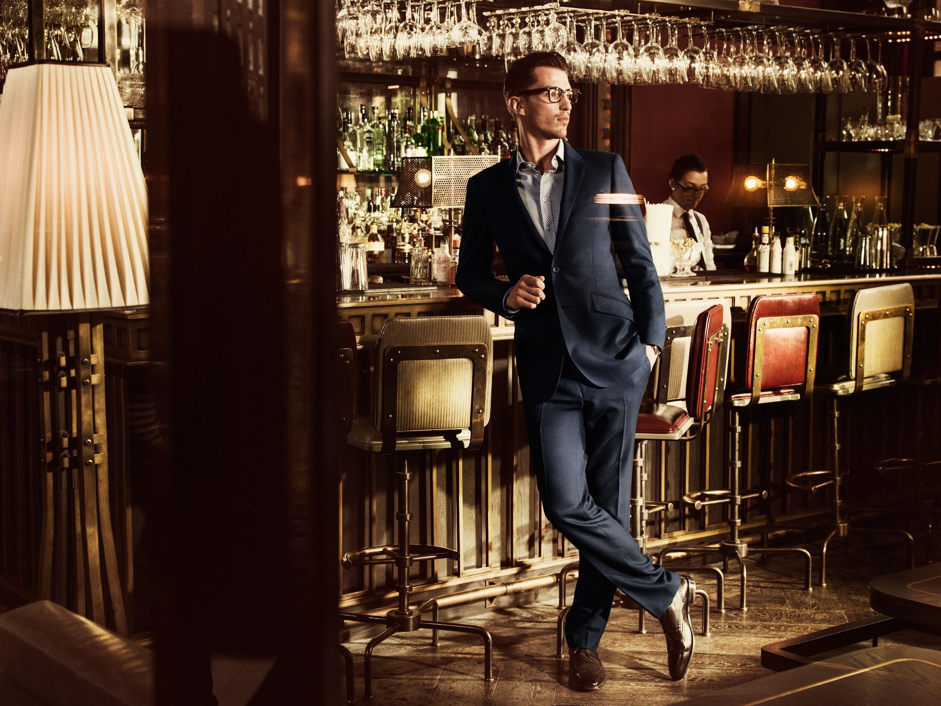 Brunel Blue Plain 2-Button Slim-Fit Suit - 44117B