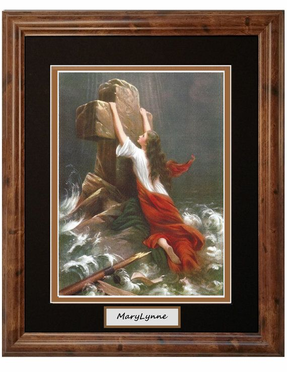 personalize this trust in god woman in storm clinging to cross christian framed art print