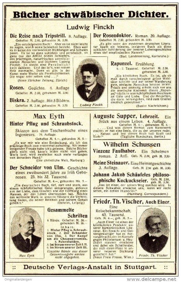 Deutsche Verlagsanstalt original werbung anzeige 1913 schwäbische dichter finckh eyth