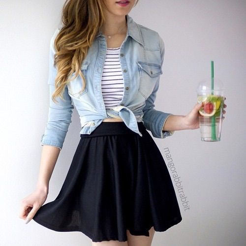5958f2336d Image via We Heart It  black  clothes  fashion  jean  outfit  skirt  style   white