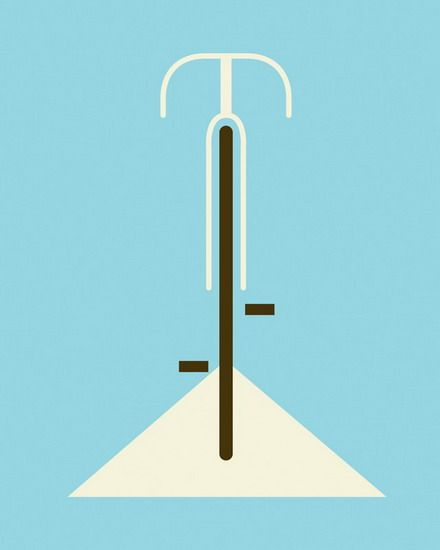 Bicycle  hand made 2 color screen print  measures 16 x 20 inches  signed & numbered edition   artist: Eleanor Grosch