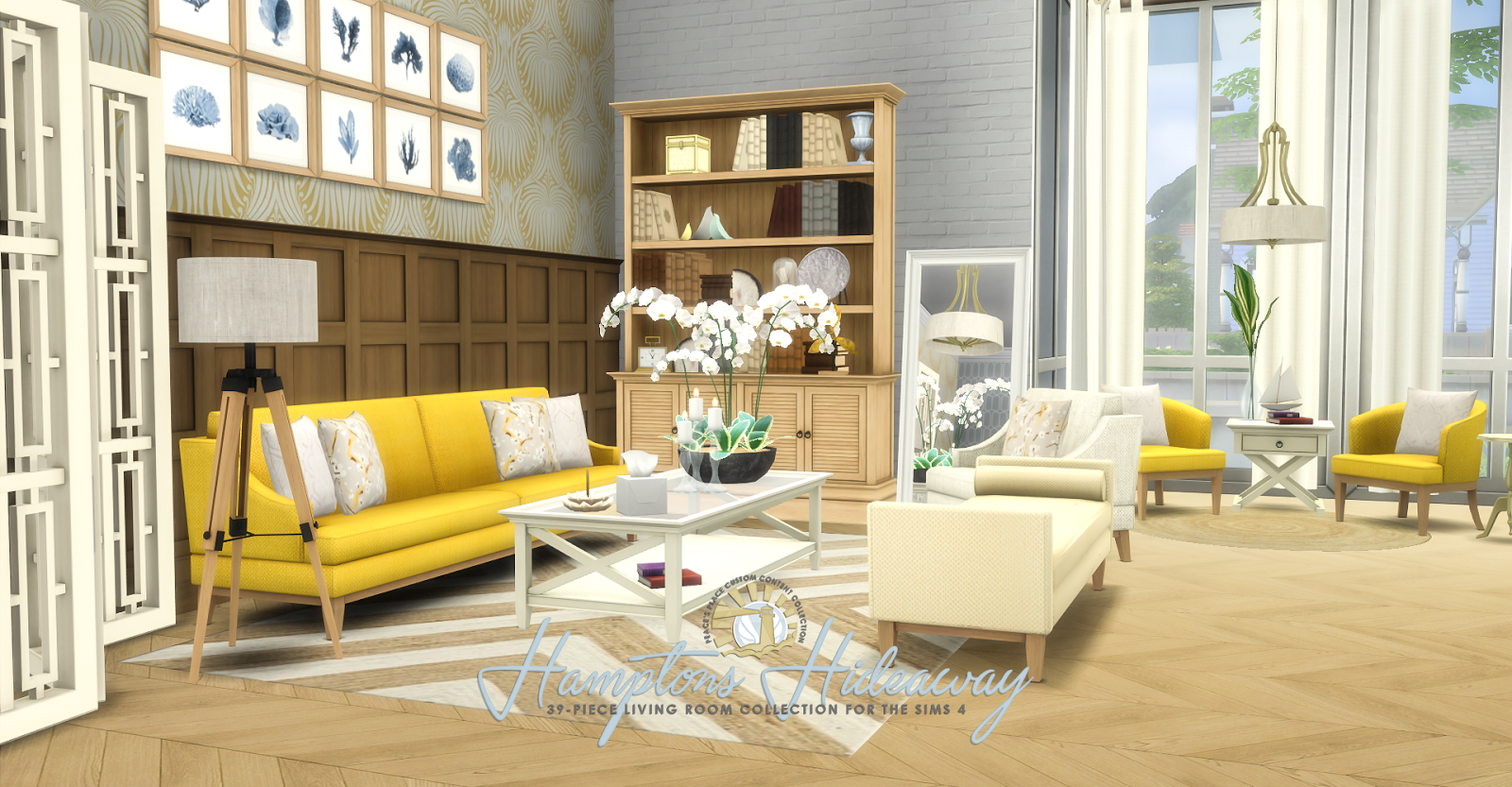 Simsational Designs: UPDATED: Hamptons Hideaway - Living Room Set for TS4