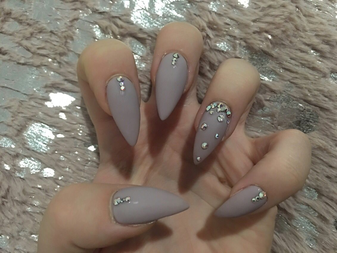 Matte almond nails with Swarovski crystals | Nails | Pinterest ...