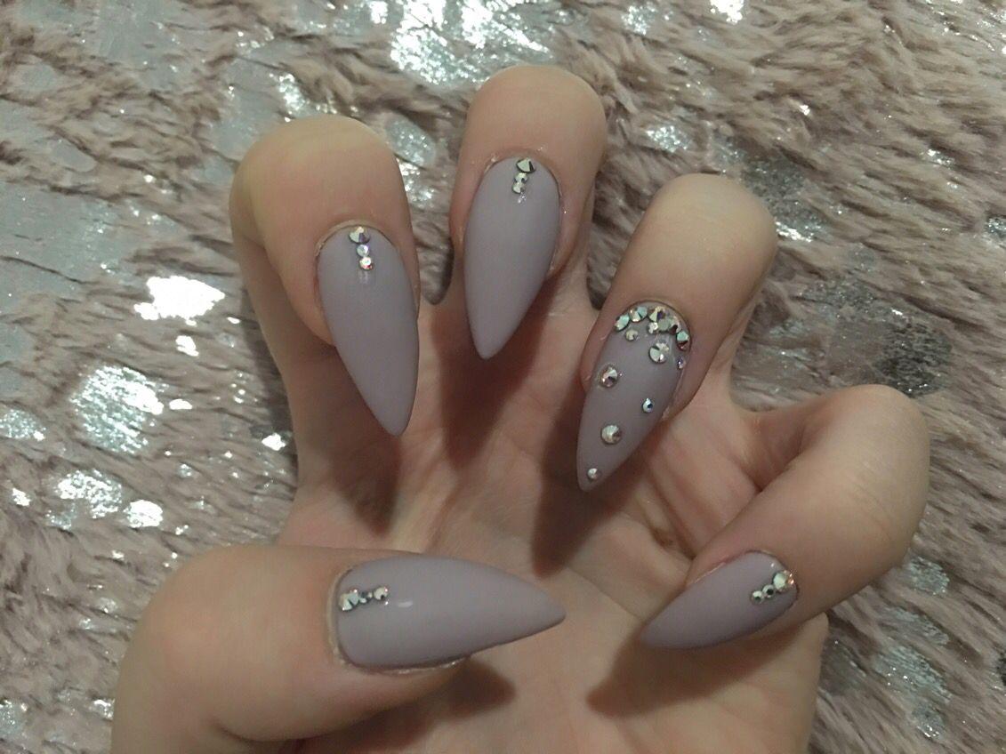 Matte almond nails with Swarovski crystals | Nails | Pinterest ...