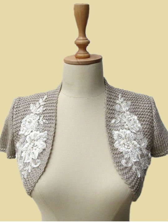 Bridal Bolero Wedding Shrug Wrap Capelet beaded lace shawl jacket ...
