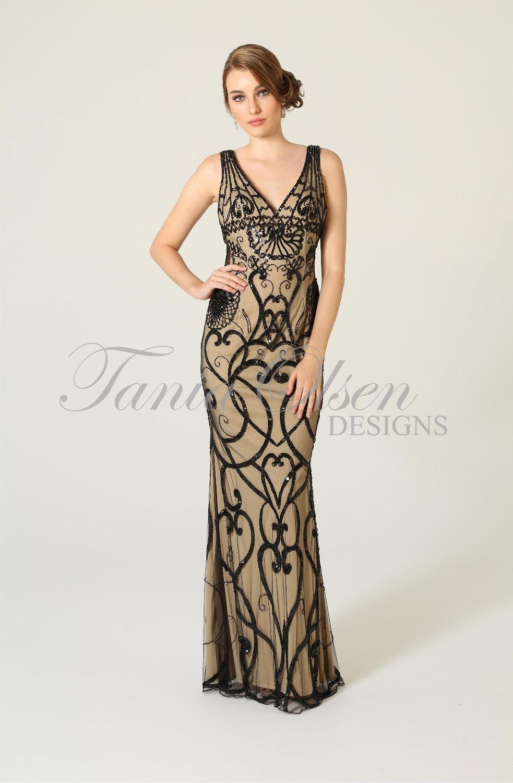 Estelle beaded evening dress