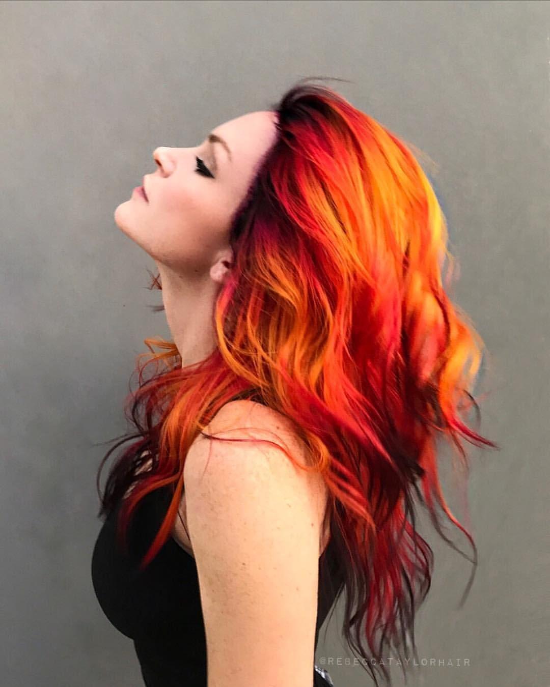 Into The Fire Difey Brazilianbondbuilder Redken Sexyhair Behindthechair Com Fire Colormelt Shineline Creativecolo Hair Styles Fire Hair Roots Hair