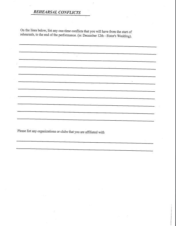 audition form page 2 Auditions Pinterest