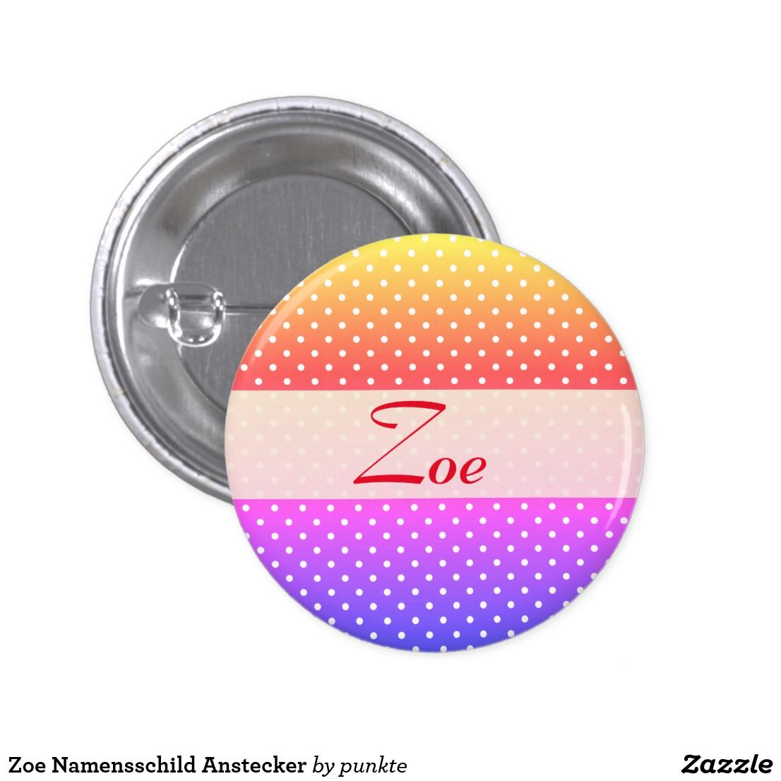 Zoe Namensschild Anstecker Runder Button 2 5 Cm