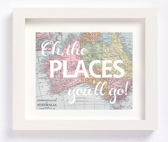 Australia Oh, the places you'll go Dr. Seuss vintage map print for nursery or kid's room baby shower new mom gift by CheekyAlbi, $12.00
