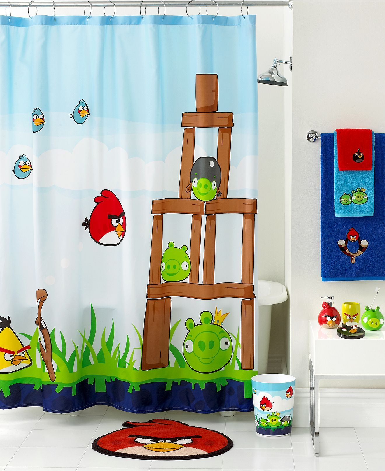 Jay Franco Bath Accessories Angry Birds Burst Shower Curtain