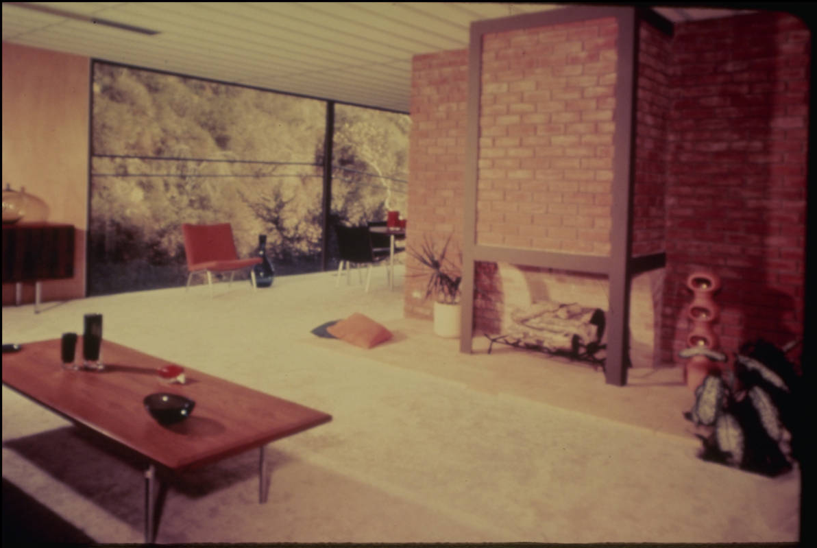 Architectural Teaching Slide Collection - Seidel residence, Los Angeles, Calif., 1960? - Interior photograph of the residence of Tom Seidel and Jean Hagen, 2727 Mandeville Canyon Road, Los Angeles, California, 1960? Designed by Pierre Koenig.