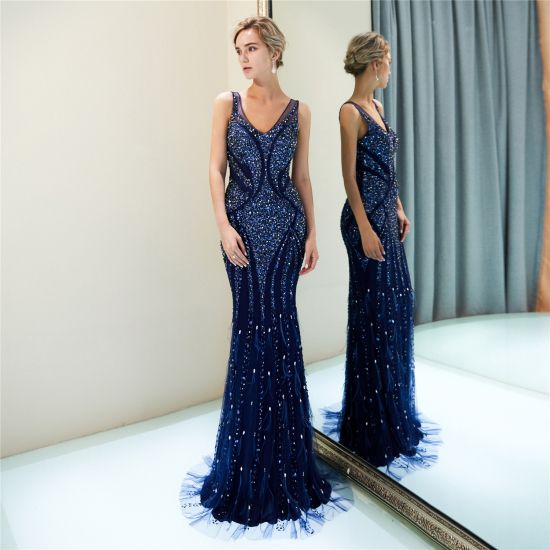 b978abeb8ee Mermaid Royal Blue Long V-Neck Sleeveless Beaded Formal Evening Dress 017DS