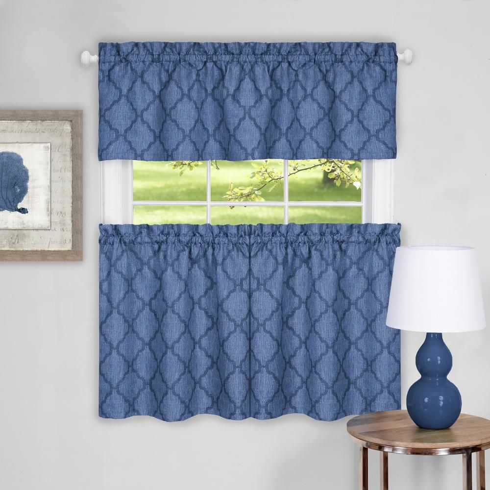 Achim Colby Blue Polyester Tier and Valance Curtain Set - 58 in. W x ...