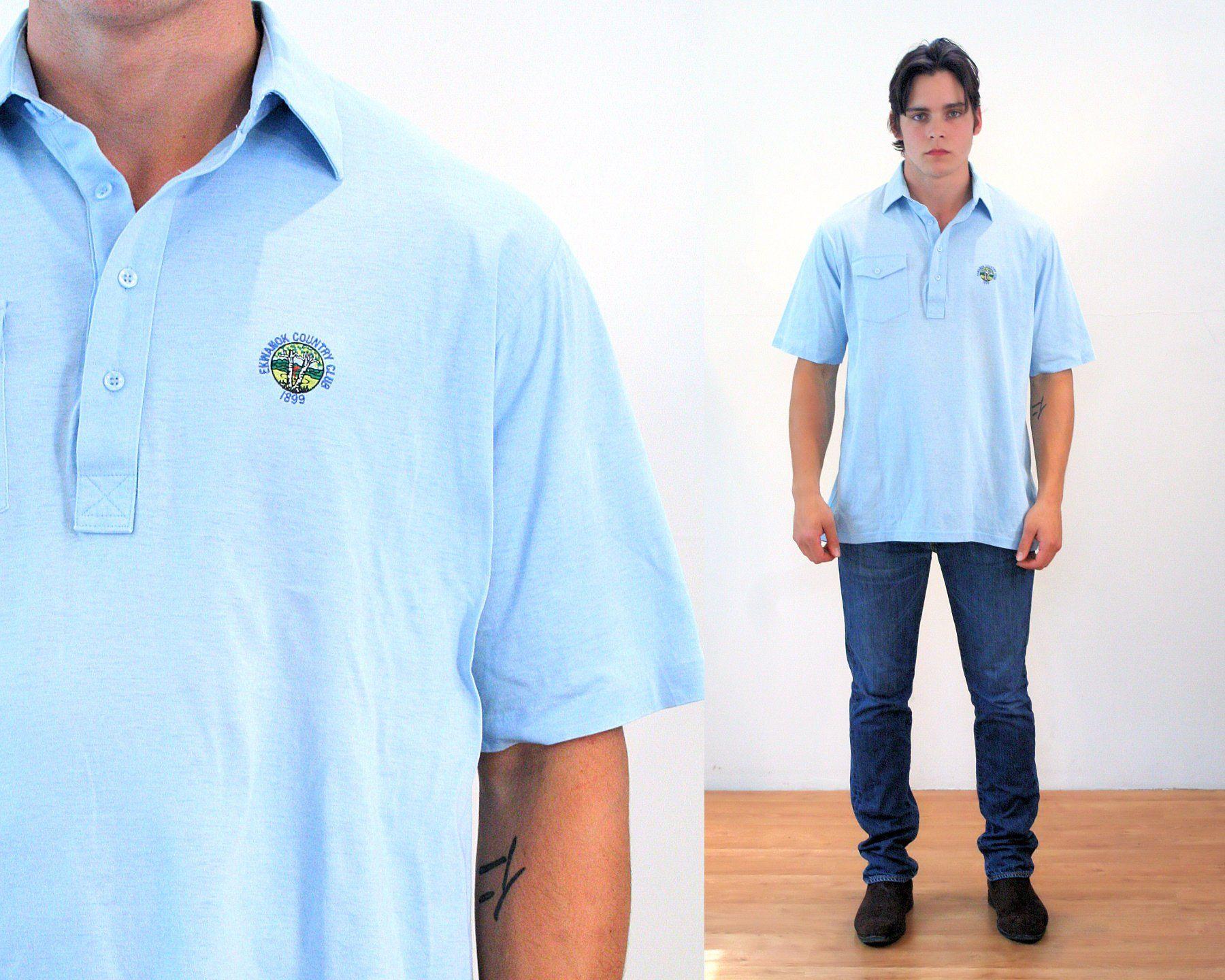 80s Light Blue Polo Shirt L Men S Vintage Golf Country Blue Polo Shirts Mens Vintage Shirts Vintage Men
