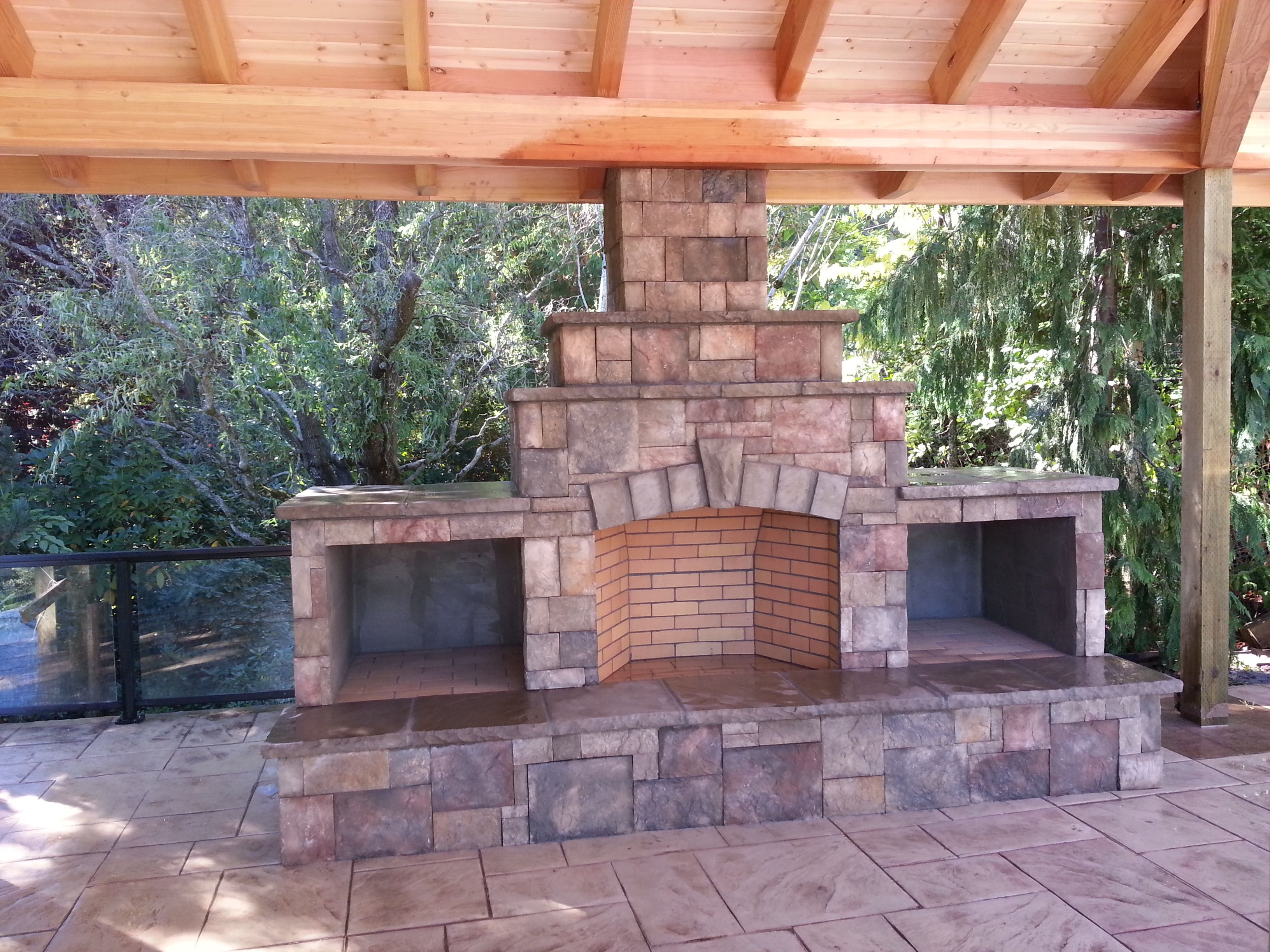 Outdoor fireplace wood boxes raised hearth fire brick for Fireplace on raised deck