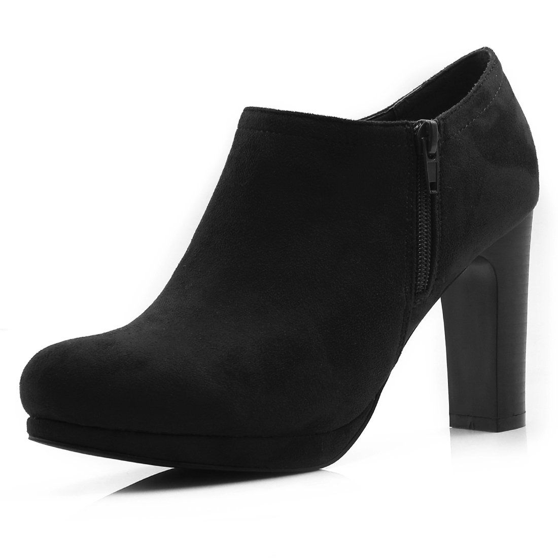 040d4ef2bcf Allegra K Women Round Toe Zipper Side High Heel Ankle Boots Black (Size US 9