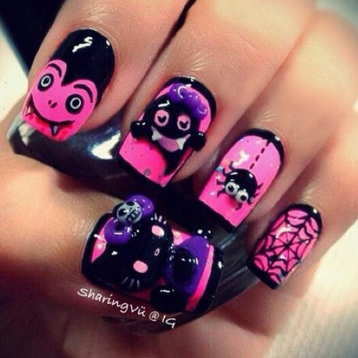 Halloween Nail Art Design - 3D Pink and Black design with ...