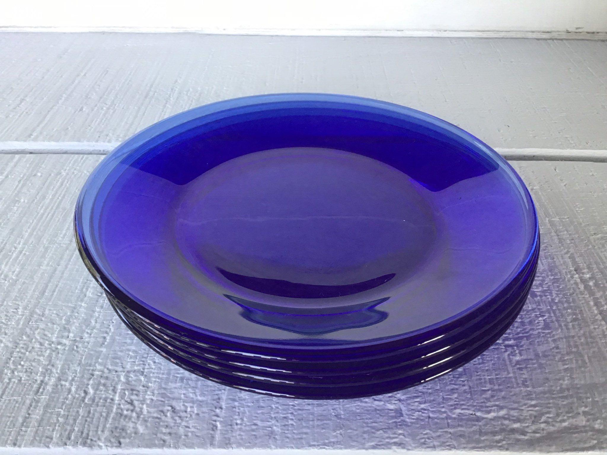4 Vintage Arcoroc Cobalt Blue Salad Plates Saphir Blue Plate Retro