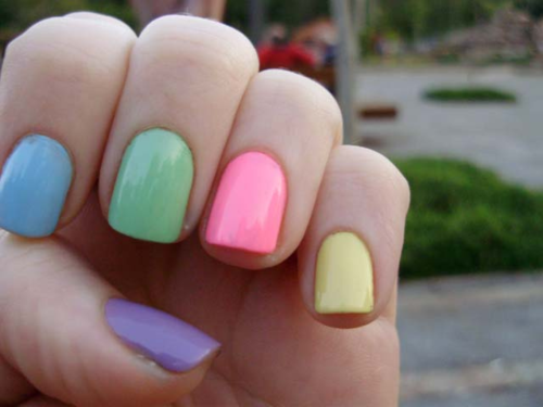 Pastel Nails Purple Baby Blue Mint Green Pink And Yellow Pastel Nails Rainbow Nails Nails